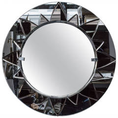 Unusual Round Mirror with Rose Mirror Sunburst Design