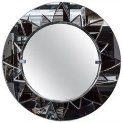 Unusual Art Deco Style Mirror with Rose Mirror Sunburst Design