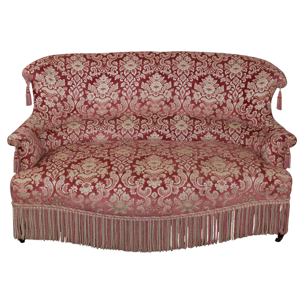 19th Century French Napoleon III Settee with Red Velvet and Bullion Fringe
