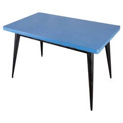 Tolix Table with Blue Top and Black Frame