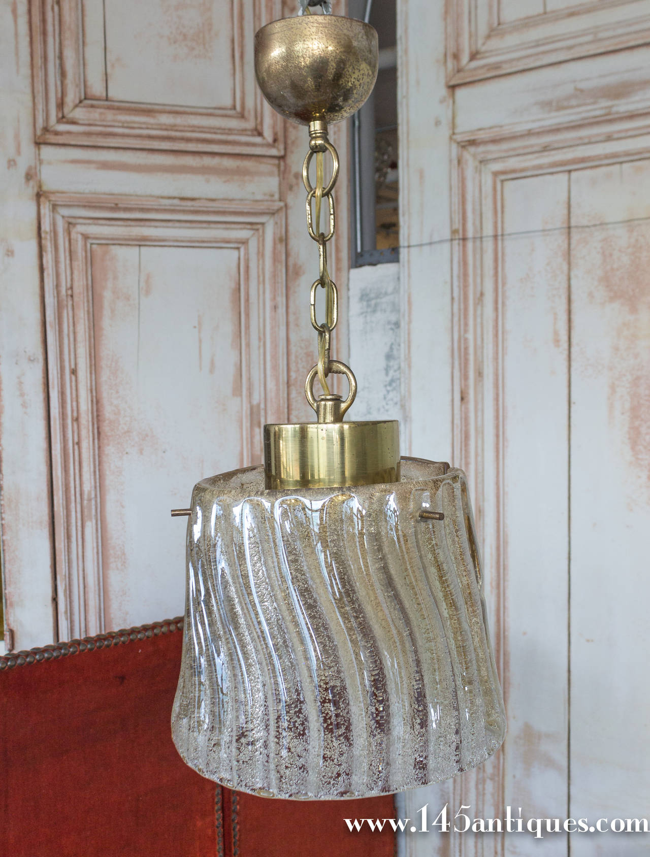 Small Italian Glass Chandelier with Gold Flecks at 1stdibs