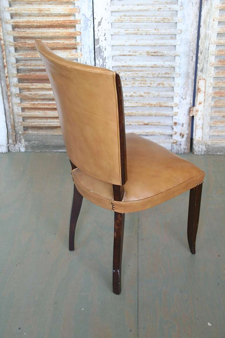 Set Of 6 French 1940 39 S Dining Chairs In Beige Leather At