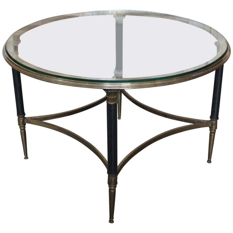 French 1950 S Round Bronze Coffee Table With Glass Top At 1stdibs