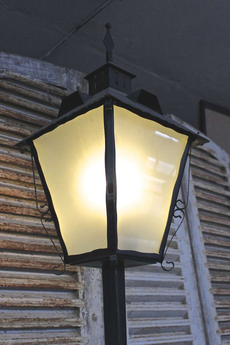 French Garden Street Lamp With Frosted Glass For Sale At