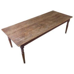 French Oak Farm Table with Turned Legs