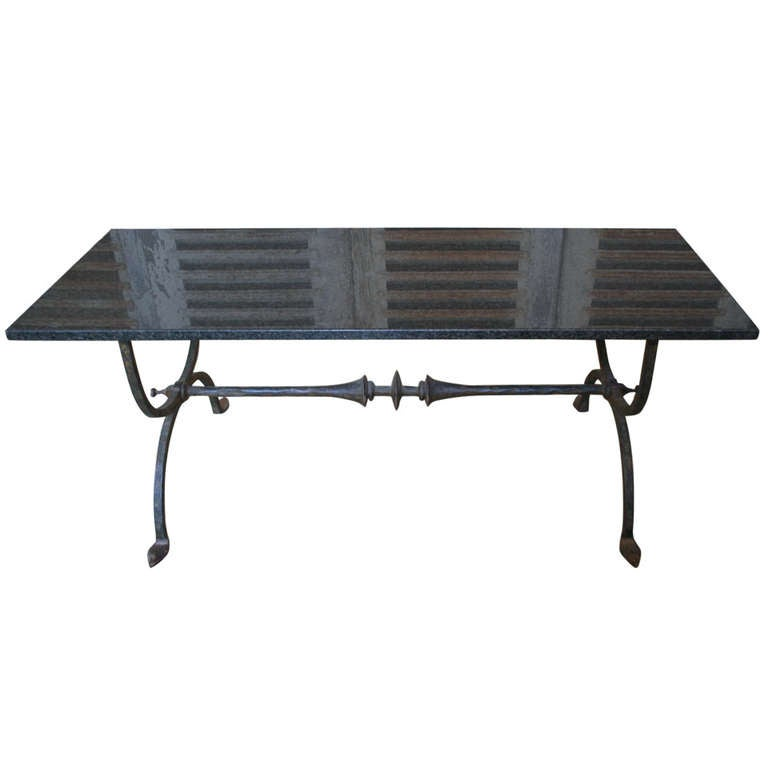 Spanish 1940s wrought iron coffee table with black granite for Marble and wrought iron coffee table