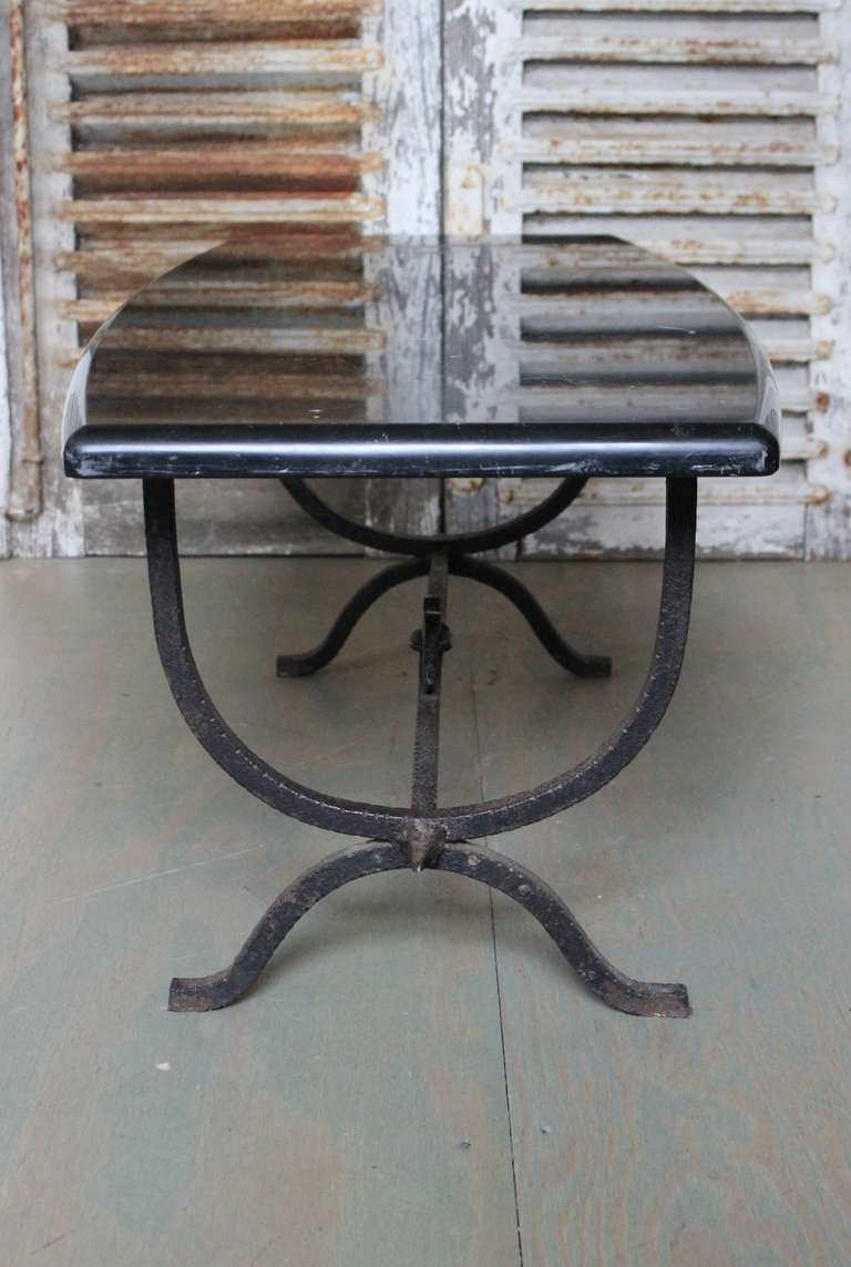 Spanish wrought iron coffee table with marble top at 1stdibs Wrought iron coffee tables