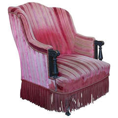 Unusual French Armchair in Faded Red Velvet