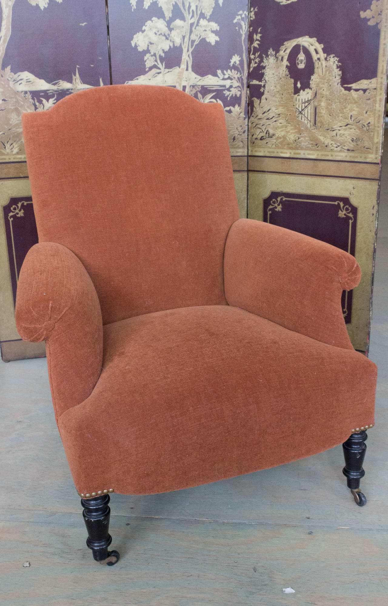 Natural Fiber Reproduction of a Napoleon III Armchair For Sale