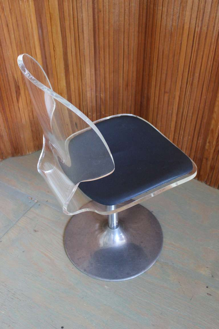 Pair of Lucite and Chrome Swivel Side Chairs For Sale 1