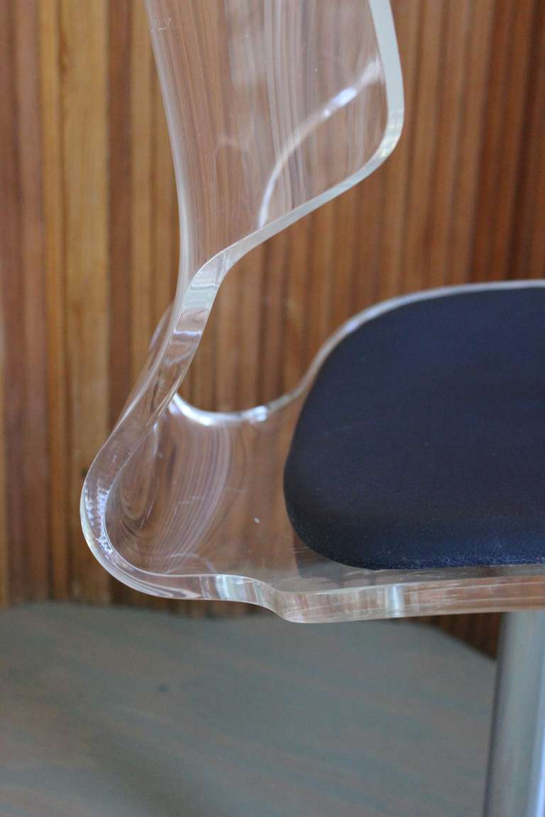 Pair of Lucite and Chrome Swivel Side Chairs For Sale 3