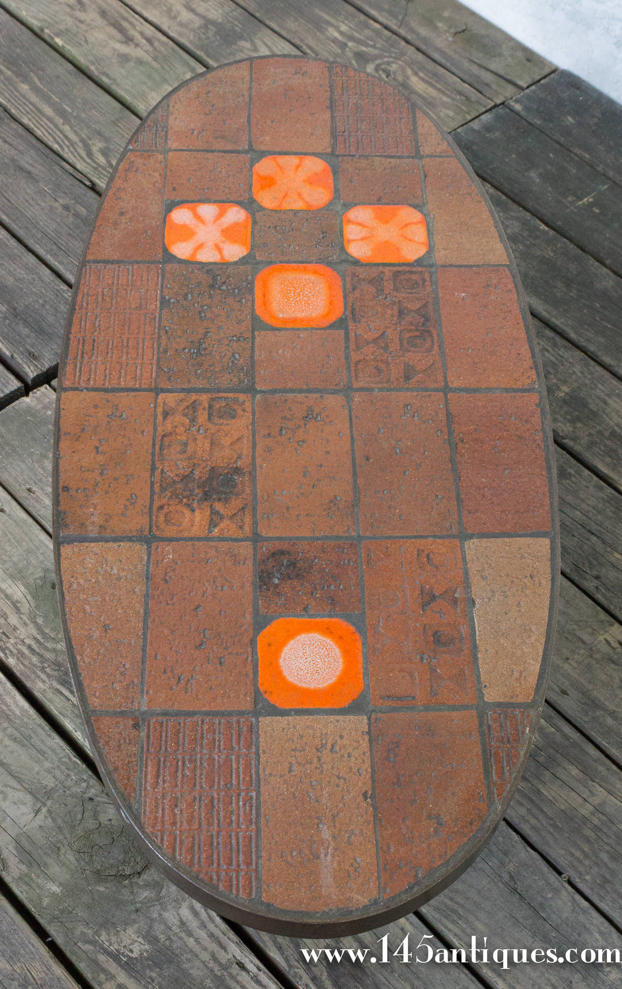 Steel And Ceramic Tile Oval Coffee Table For Sale At 1stdibs