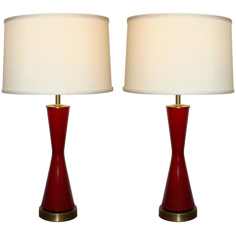 Pair Of Red Italian Glass Table Lamps At 1stdibs