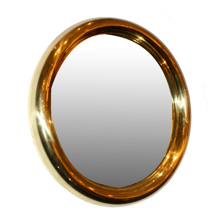Round brass frame mirror at stdibs