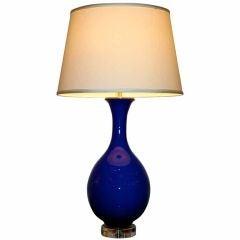 Italian 1950s  Cobalt Blue Glass Lamp