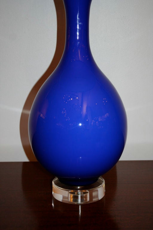 italian 1950s cobalt blue glass lamp at 1stdibs. Black Bedroom Furniture Sets. Home Design Ideas