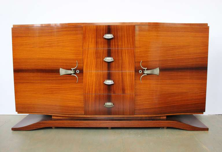 French 1940 39 s rosewood sideboard with nickel hardware at for 1940 door hardware