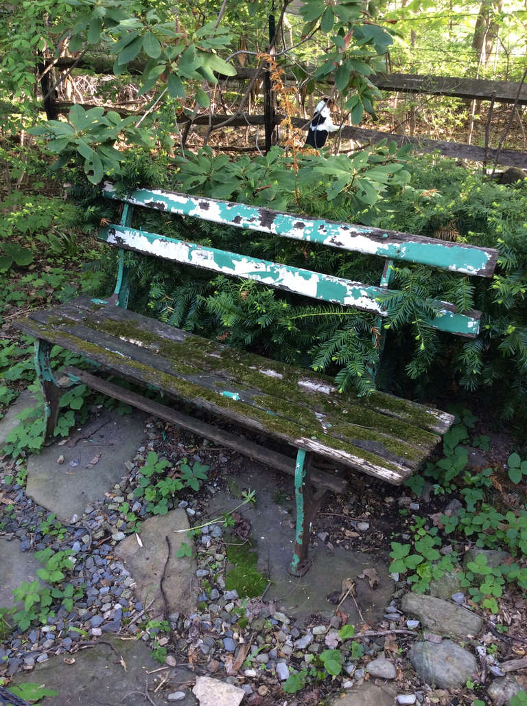 Distressed Garden Bench With Moss For Sale At 1stdibs