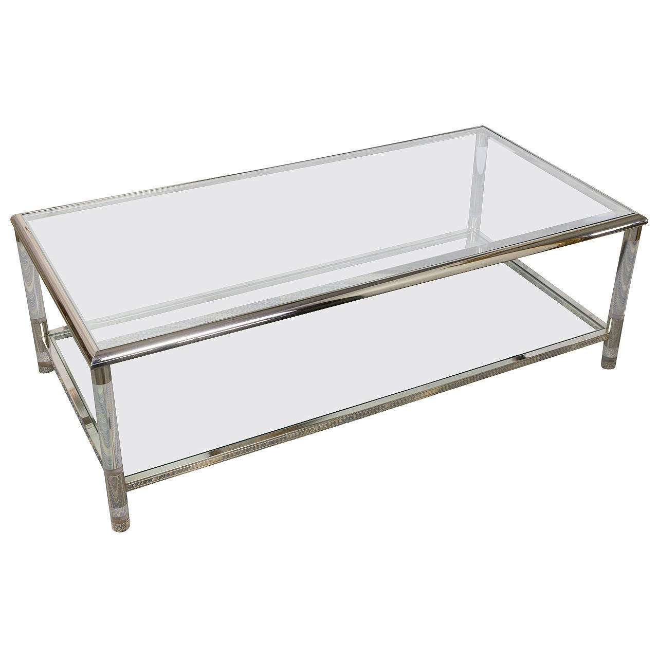 French 1960s Rectangular Lucite Chrome And Glass Coffee Table For Sale At 1stdibs