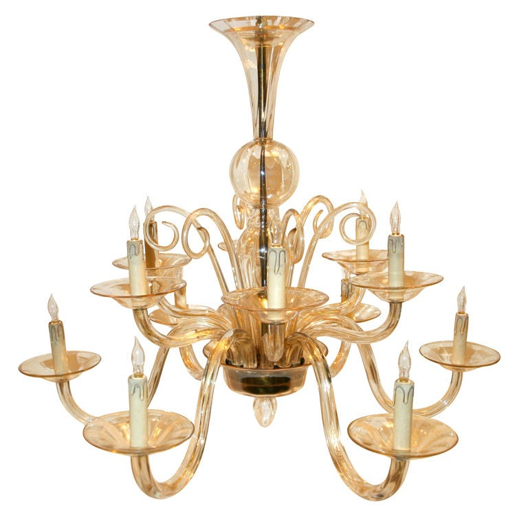 2 Tiered Champagne Colored Murano Chandelier at 1stdibs