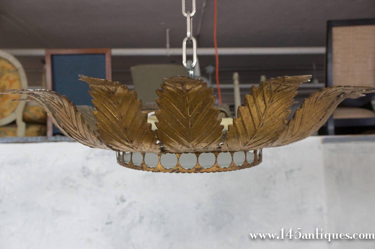 1950s Spanish Gilt Metal Ceiling Fixture With Decorative Twist Trim At 1stdibs