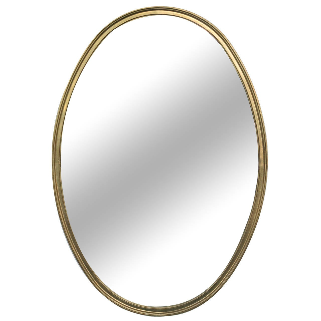 1950s French Brass Oval-Shaped Mirror at 1stdibs