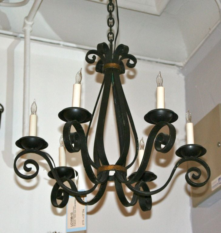 French Black Wrought Iron Chandelier at 1stdibs – Black Rod Iron Chandelier