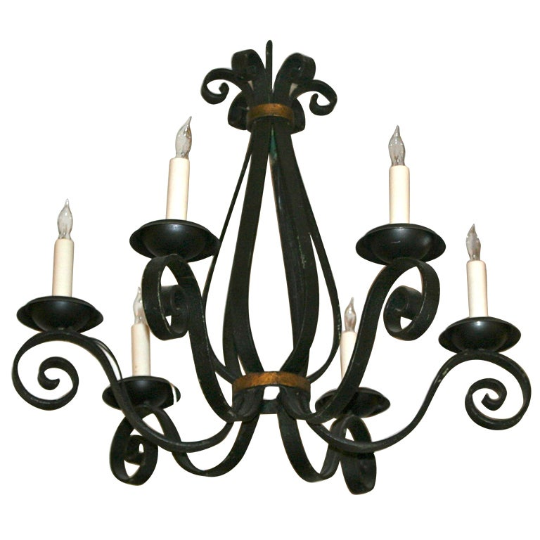 French Black Wrought Iron Chandelier At 1stdibs