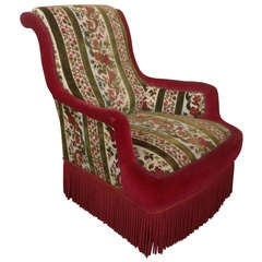 French 19th Century Armchair In Patterned Velvet