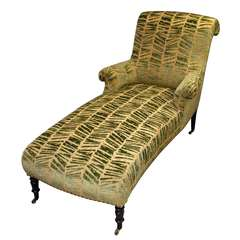 19th c. Scrolled Back Chaise Lounge on Castors