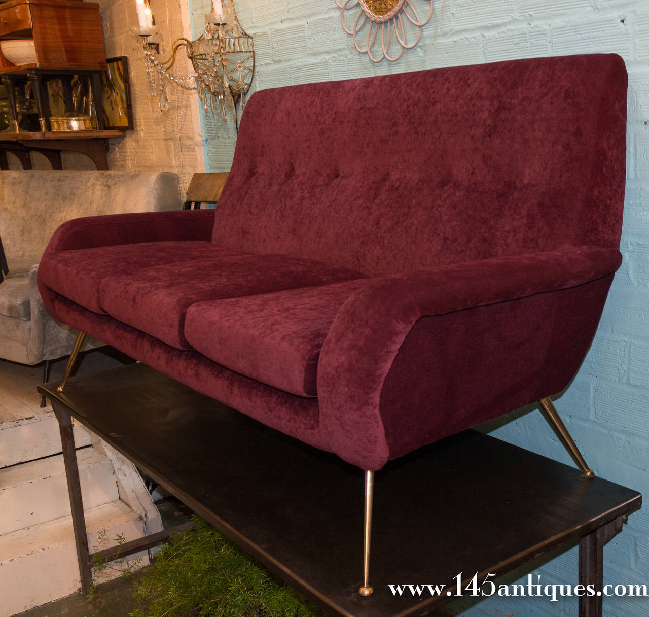 1960s modern italian sofa in eggplant chenille upholstery for Purple chenille sofa