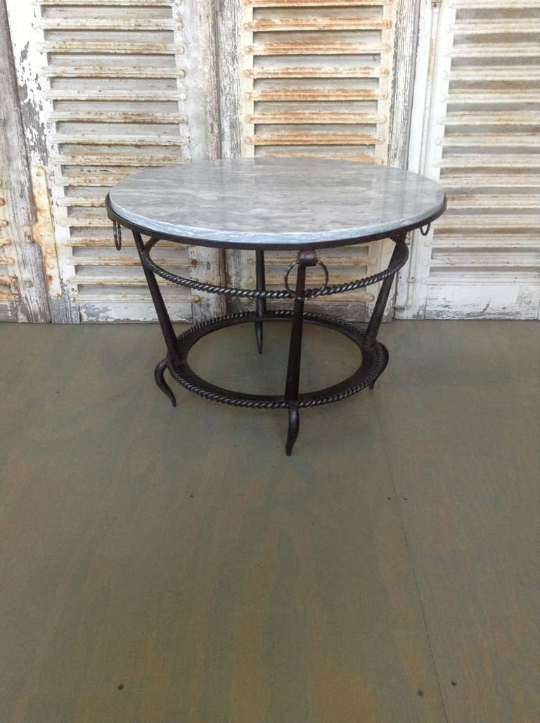 French 1940s wrought iron coffee table with grey marble for Rod iron coffee table