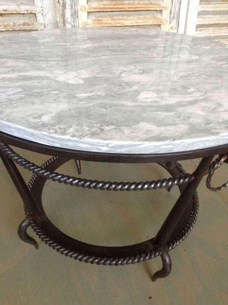 French 1940 39 s wrought iron coffee table with grey marble for Marble and wrought iron coffee table