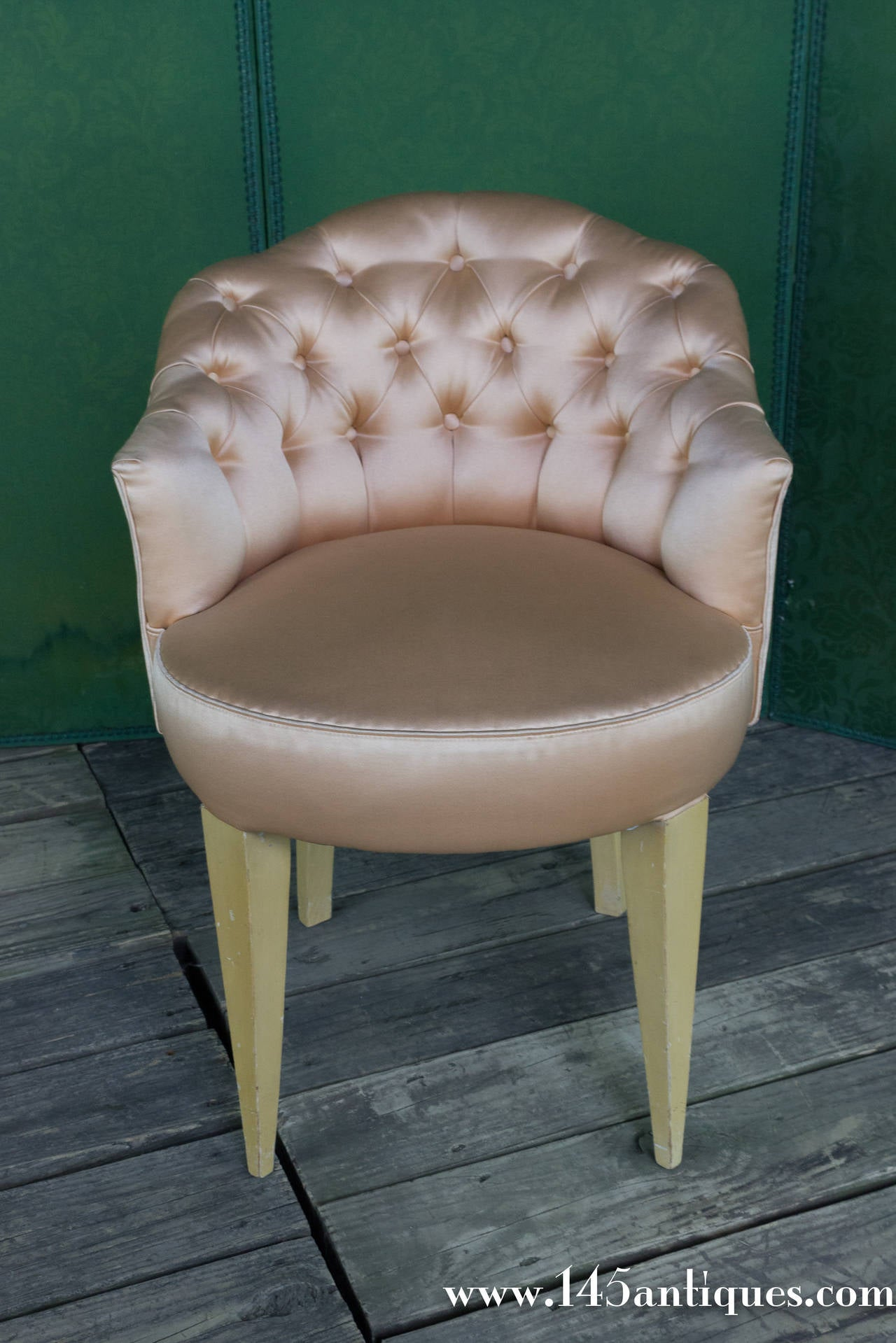 20th Century French Tufted Back Vanity Stool At 1stdibs