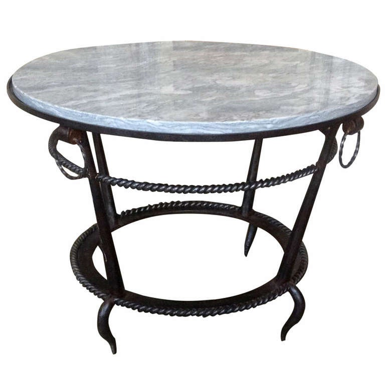 French 1940s wrought iron coffee table with grey marble for Stone and iron coffee table