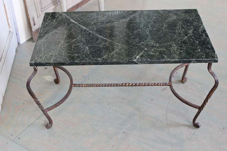 Iron Coffee Table with Green Marble For Sale 5
