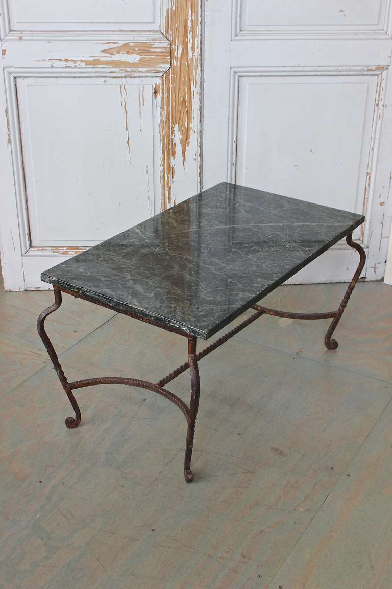 French Iron Coffee Table with Green Marble For Sale