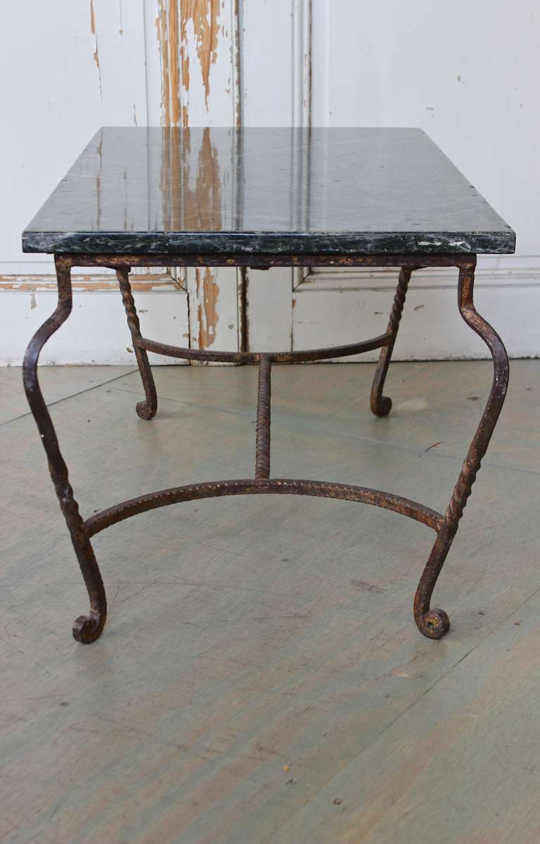 Mid-20th Century Iron Coffee Table with Green Marble For Sale