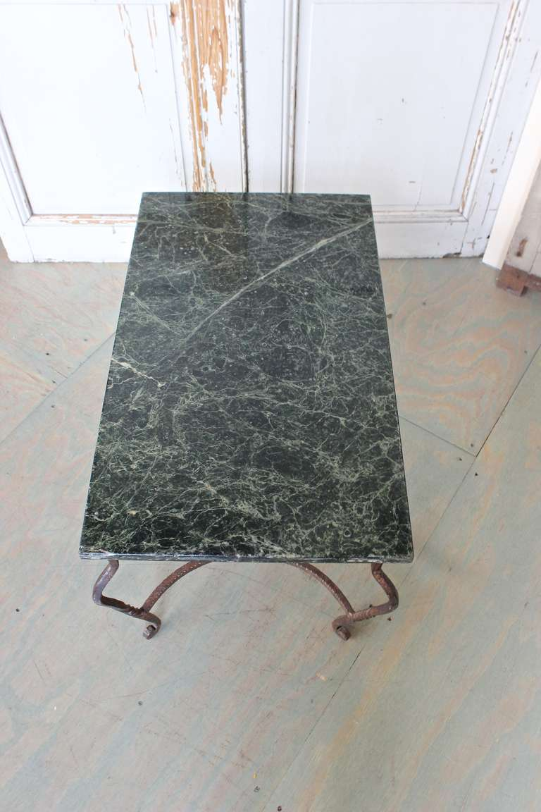 Iron Coffee Table with Green Marble For Sale 3
