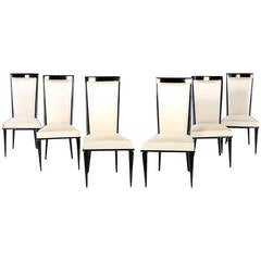 Set of Six Elegant Midcentury Ebonized Dining Chairs Attributed to De Coene