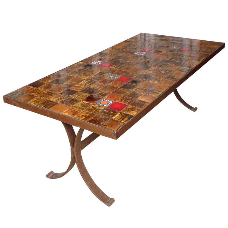 French 1960s Dining Table With Ceramic Tiled Top For Sale