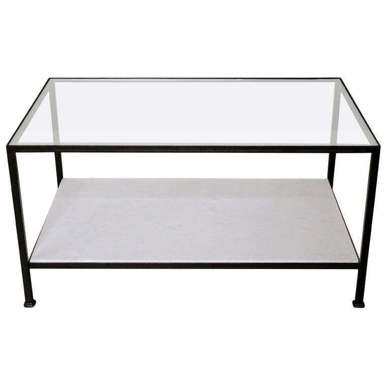 Marcelo Coffee Table With Clear Gl Top And Stone Shelf For