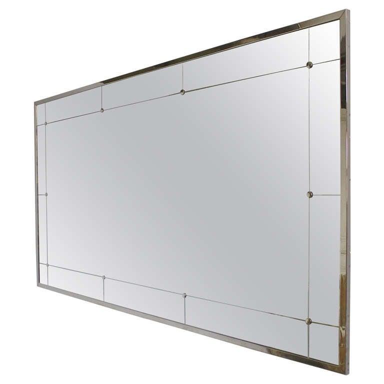 Large Rectangular Wall Mirror large modern rectangular mirror with nickel-plated metal frame at