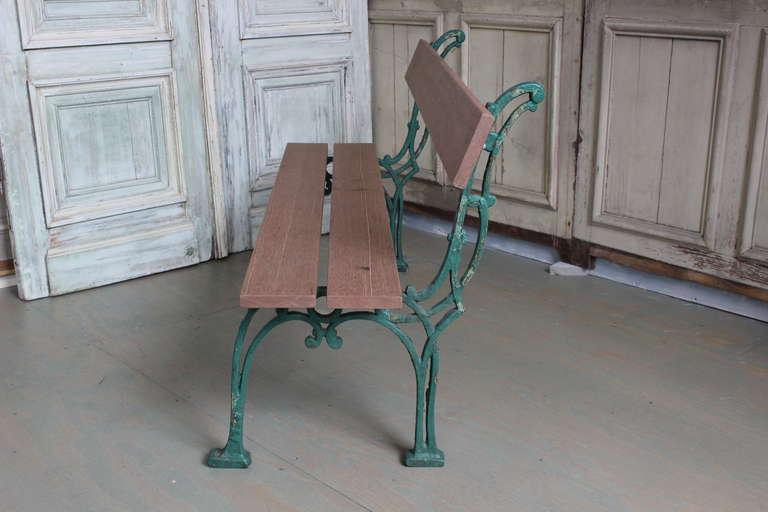 French Garden Bench with Mahogany Wood In Excellent Condition For Sale In Long Island City, NY