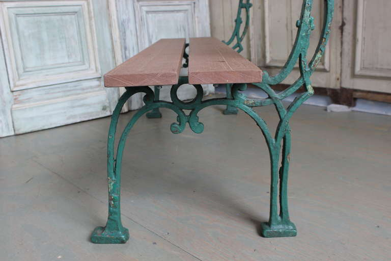 20th Century French Garden Bench with Mahogany Wood For Sale