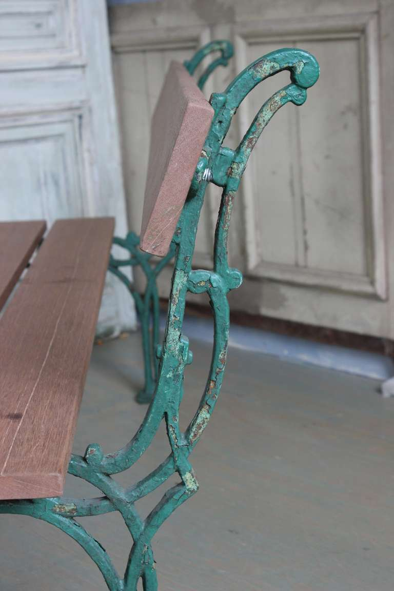 Iron French Garden Bench with Mahogany Wood For Sale