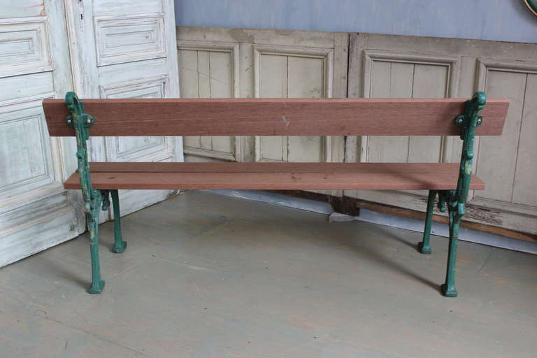 French Garden Bench with Mahogany Wood For Sale 1