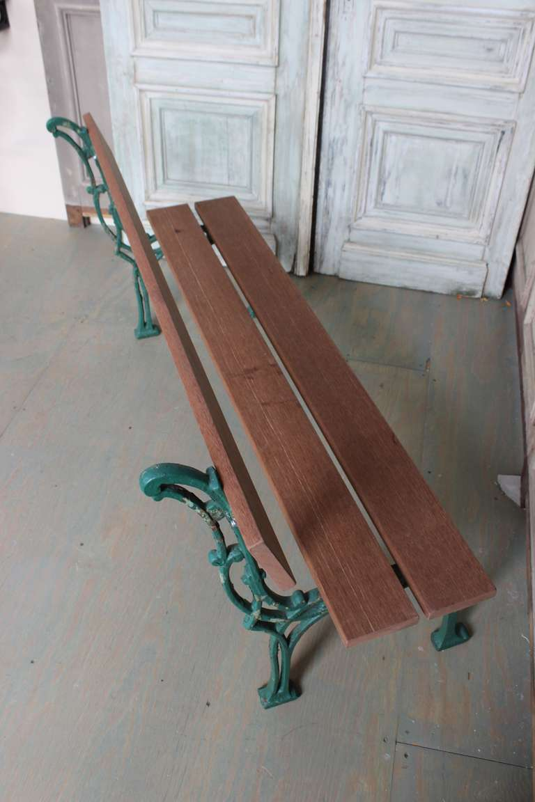 French Garden Bench with Mahogany Wood For Sale 2