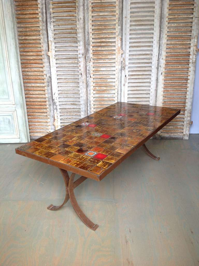 Awesome French 1960s Dining Table With Ceramic Tiled Top 3