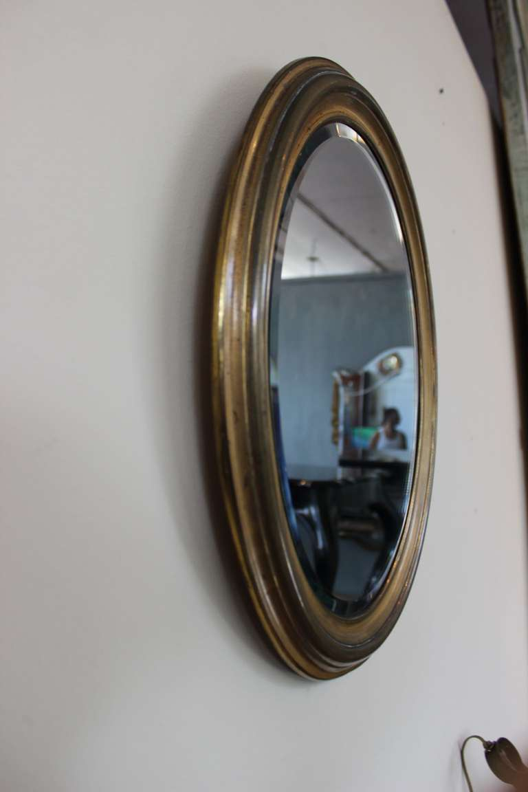 Small oval brass framed mirror at 1stdibs for Small wall mirrors